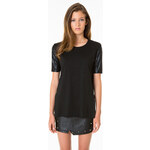 Tally Weijl Black Faux Leather Sleeve Top