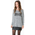 "Tally Weijl Grey ""Awesome"" Printed Jumper"