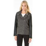 Tally Weijl Black Tweed Jacket with Faux Leather Sleeves