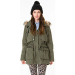 Tally Weijl Khaki Faux Fur Trim Hooded Parka