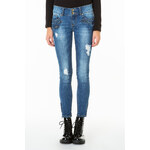 Tally Weijl Blue Distressed Ankle Skinny Jeans with Zip-Details