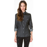 Tally Weijl Faux Leather Panel Denim Shirt