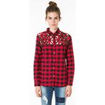 Tally Weijl Black & Red Checked Cut Out Shirt