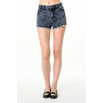 Tally Weijl Black Acid Wash Destroyed Shorts