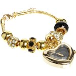 Lipsy Gold And Black Charm Bracelet Watch With Black Heart Dial