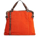 Nali Orange Bag With Bronze Handles - Orange