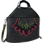 GOSHICO - Plstěná vyšívaná taška FIORE (prošívaný komín, do ruky i přes rameno) - 1259