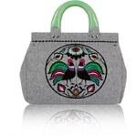 GOSHICO - Plstěná vyšívaná kufříková kabelka do ruky (menší) FOLK KOHOUTÍ - 24-27320