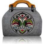 GOSHICO - Plstěná vyšívaná kufříková kabelka NEW FOLK - 39-22716