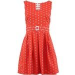Červené šaty Trollied Dolly s květinovými puntíky