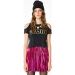 """Tally Weijl Black """"Wasted"""" Cut-Out-Detail Crop Top"""