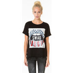 "Tally Weijl Black ""Swag"" Print Top"