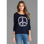 Autumn Cashmere Flower Peace Boxy Crew Neck Pullover in Navy