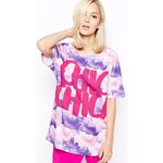 House Of Holland Oversized T-Shirt with Chica Chica Print - Purple