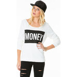 "Tally Weijl White ""Money"" Printed Sweater"