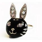 Betsey Johnson prstýnek Rabbit Black