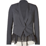 Brunello Cucinelli Stretch Wool Blazer with Sheer Ruffle Hem