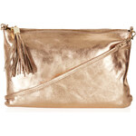 Topshop Metallic Zip Top Clutch