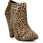 Timeless Kotníkové boty na podpatku s leopardím vzorem Timeless