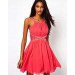 Little Mistress Lace Insert Embellished Prom Dress