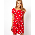 Motel Whispa Skater Dress In Daisy Print With Open Back