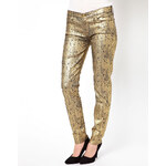 7 For All Mankind The Skinny Gold Leaf Jeans - Gold