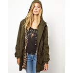 Pepe Jeans Parka With Leopard Faux Fur Lining