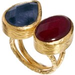 Ottoman Hands Two Stone Horizontal Ring