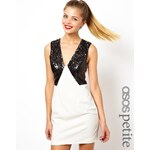 ASOS PETITE Exclusive Mini Dress With Sequin Deep Plunge