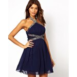 Little Mistress Embellished Skater Dress with Cut Out