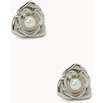FOREVER21 Faux Pearl Flower Studs