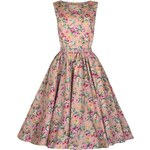 AUDREY růžové květované - Retro šaty inspirované padesátými léty