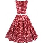 AUDREY červené puntíkaté šaty ve stylu padesátých let - Retro Šaty