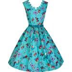DARIA tyrkysové retro šaty s motýlky inspirované padesátými léty
