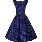 HETTY tmavomodré puntíkované retro šaty inspirované padesátými léty