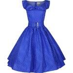 HETTY světle modré puntíkaté šaty ve stylu padesátých let - Retro Šaty