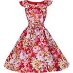 HETTY červené květované retro šaty inspirované padesátými léty