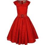 HETTY červené puntíkované retro šaty inspirované padesátými léty