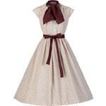 AUDREY krémové šaty s čokoládovými puntíky ve stylu padesátých let