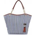 Dámská textilní Pruhovaná kabelka - modrá