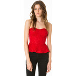 Tally Weijl Red Sequin Peplum Top