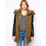 Mango Leather Look Quilted Sleeve Parka - Green