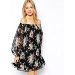 ASOS Gypsy Off Shoulder Swing Dress In Vintage Rose Print - Multi