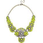 Liquorish Neon Floral Statement Necklace - Yellow