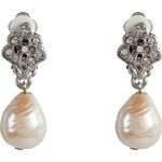 R.J.Graziano Silver-Toned Crystal and Pearl Drop Earrings