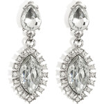 R.J.Graziano Crystal Oval Drop Earrings in Silver