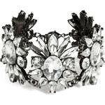 R.J.Graziano Crystal Floral Link Bracelet in Gunmetal