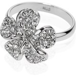 Marks and Spencer M&S Collection Platinum Plated Diamanté Pave Floral Ring