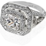 Marks and Spencer M&S Collection Platinum Plated Vintage Style Deco Ring
