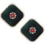 Topshop Quadratische Ohrringe mit grünem Samt